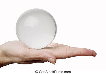 cristal, mão, esfera