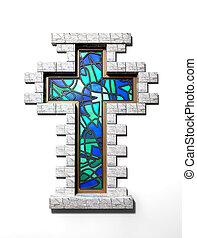 cristal manchado, crucifijo, ventana, aislado