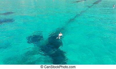 cristal, nageur, natation, vue, océan, clair, aérien