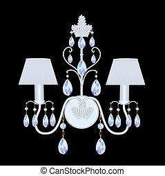 cristal, noir, pendentifs, bougeoirs