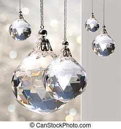cristal, penduradas, ornamento, luzes