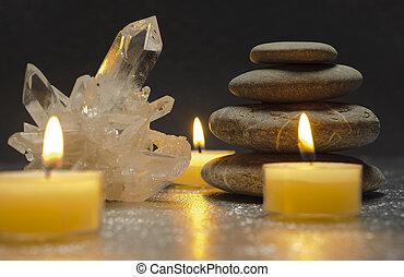 cristal quartzo, e, zen, pedras, com, velas