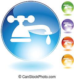 cristal, robinet, icône