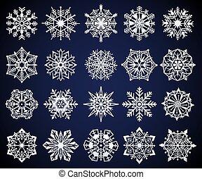 cristal, snowflake., neve, iced, gelado, elementos, ornamento, jogo estrela, congelado, símbolo, pictograma, vetorial, gelado, snowflakes, natal, inverno