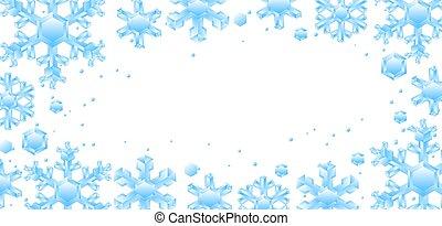 cristal, snowflakes., cadre