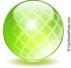 cristal, vetorial, verde, orbe
