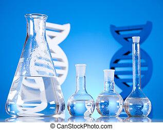 cristalería, adn, moléculas, laboratorio