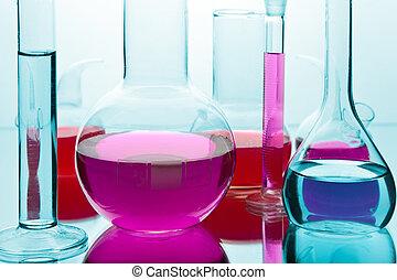 cristalería, laboratorio, colorido, químicos