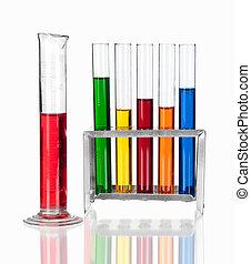 cristalería, laboratorio, encima, blanco