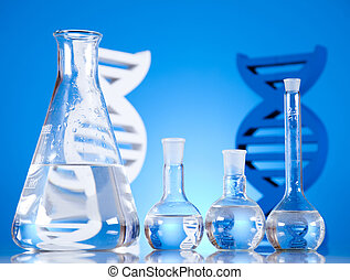 cristalería laboratorio, moléculas, adn