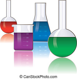 cristalería laboratorio, vector, conjunto