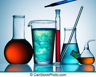 cristalería, variado, equipo del laboratorio