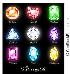 cristales, conjunto, coloreado