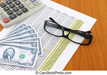cristales del ojo, en, contabilidad, mesa.