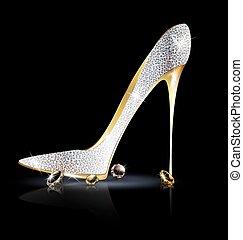 cristalli, scarpa, argento, dorato
