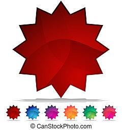 cristallo, bottone, starburst, set, mosaico