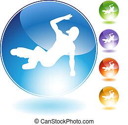 cristallo, breakdancer, icona
