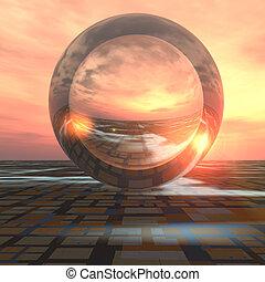 cristallo, futuro, palla, griglia, orizzonte