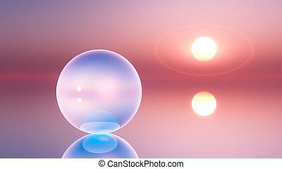 cristallo, globo, orizzonte, surreale