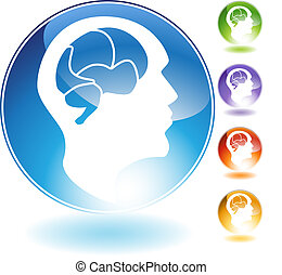 cristallo, mente, umano, icona