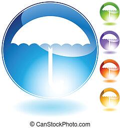 cristallo, ombrello, icona
