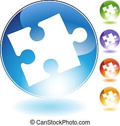 cristallo, puzzle, icona