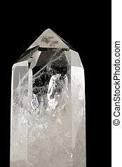 cristallo, quarzo, -, fondo, nero
