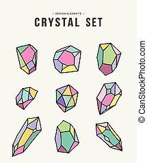 cristallo, set, colorito, illustrazione