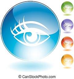 cristallo, set, occhio, umano, icona