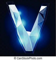 cristallo, vettore, alphabet., ise, tipo