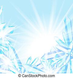 cristaux, étincelant, glace
