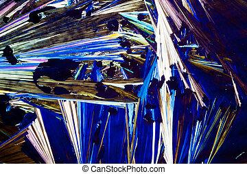 cristaux, benzoic, polarisé, acide, lumière