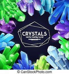 cristaux, coloré, fond, réaliste