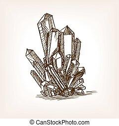 cristaux, croquis, vecteur, style, illustration