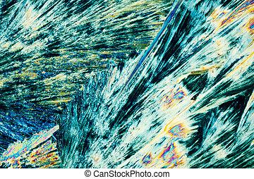 cristaux, lumière, polarisé, thiosulphate, sodium