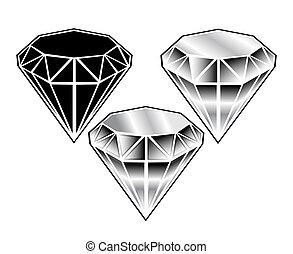cristaux, noir blanc, ensemble, w