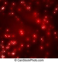 cristhmas, stjärnor, bakgrund, in, röd