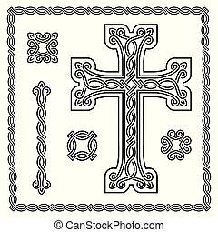 cristian, kreuz, mit, verschachtelt, verzierung