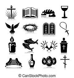 cristianismo, iconos, conjunto, negro