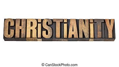 cristianismo, palabra, en, madera, tipo