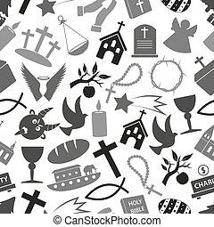 cristianismo, religião, símbolos, grayscale, seamless, padrão, eps10