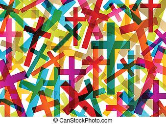 cristianismo, religión, cruz, concepto, resumen, plano de...