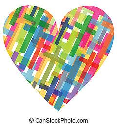 cristianismo, religión, cruz, mosaico, corazón, concepto, resumen, plano de fondo, ilustración, vector, para, cartel