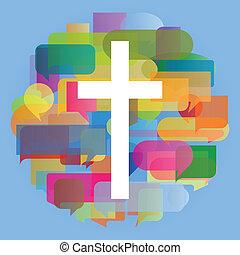 cristianismo, religión, cruz, mosaico, corazón, concepto,...