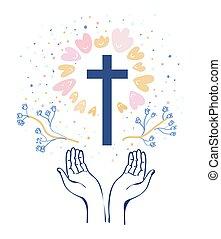 cristianismo, religión, plano de fondo, ilustración