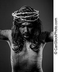 cristianismo, representación, de, christ de jesus sobre la...