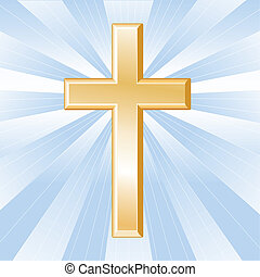 cristianismo, símbolo, dourado, crucifixos