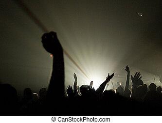 cristiano, concierto, venerar, -, manos, musical, uplifted