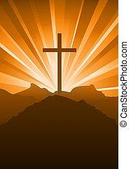 cristiano, credo, cielo, cruz, ocaso, religioso