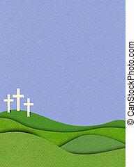 cristiano, crosses., efecto, plano de fondo, textured, pascua, 3d